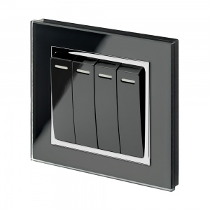 Crystal CT 4 Gang Rocker Light Switch Black