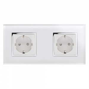 Crystal CT 13A Schuko Dual Double Plug Socket White