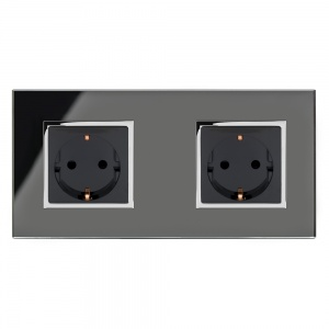 Crystal CT 13A Schuko Dual Double Plug Socket Black