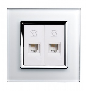 Crystal CT Dual RJ11 Socket White
