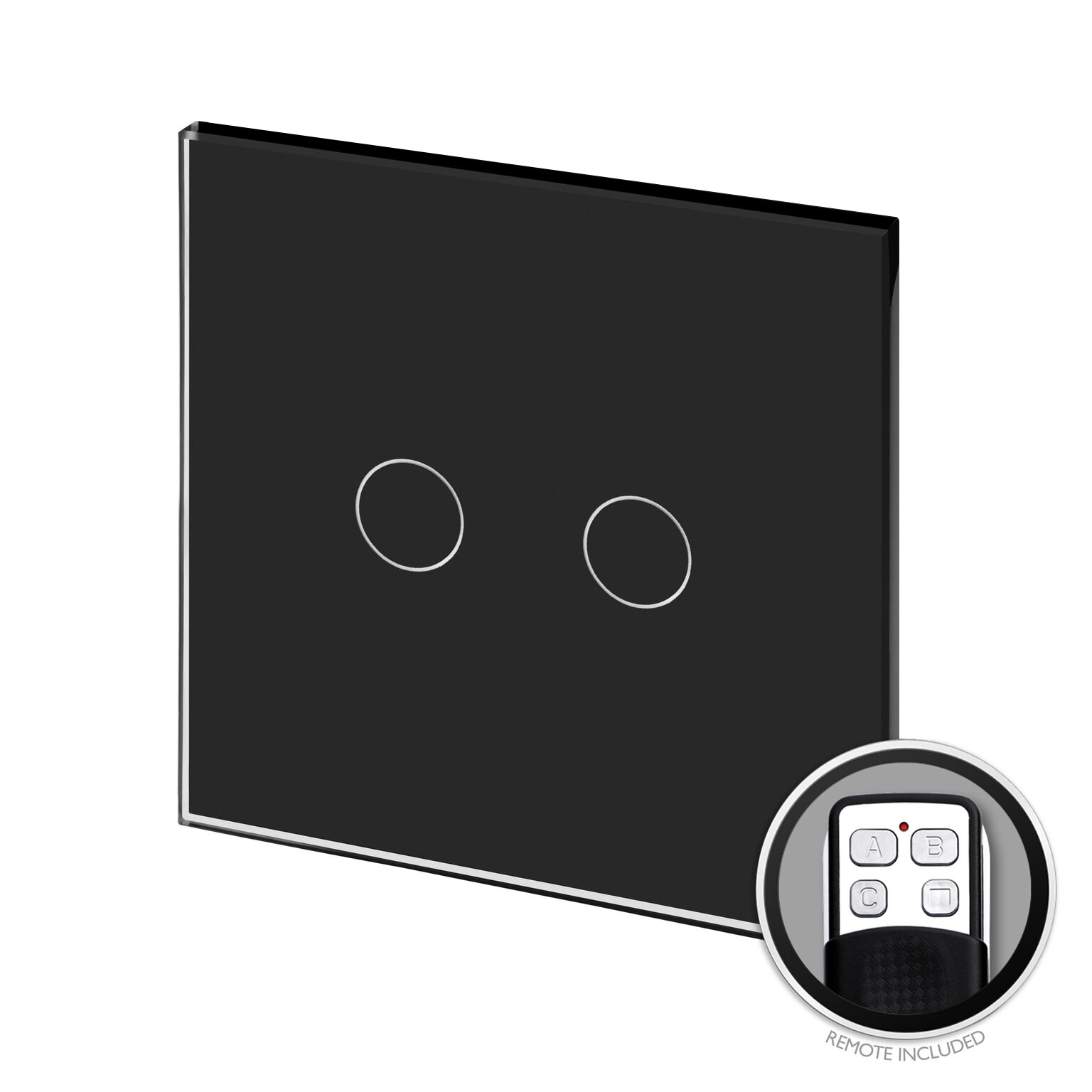 Crystal PG Touch & Remote Light Switch 2 Gang Black