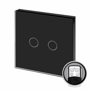 Crystal PG LED Dimmer Touch & Remote Light Switch 2 Gang Black Glass | LED Compatible