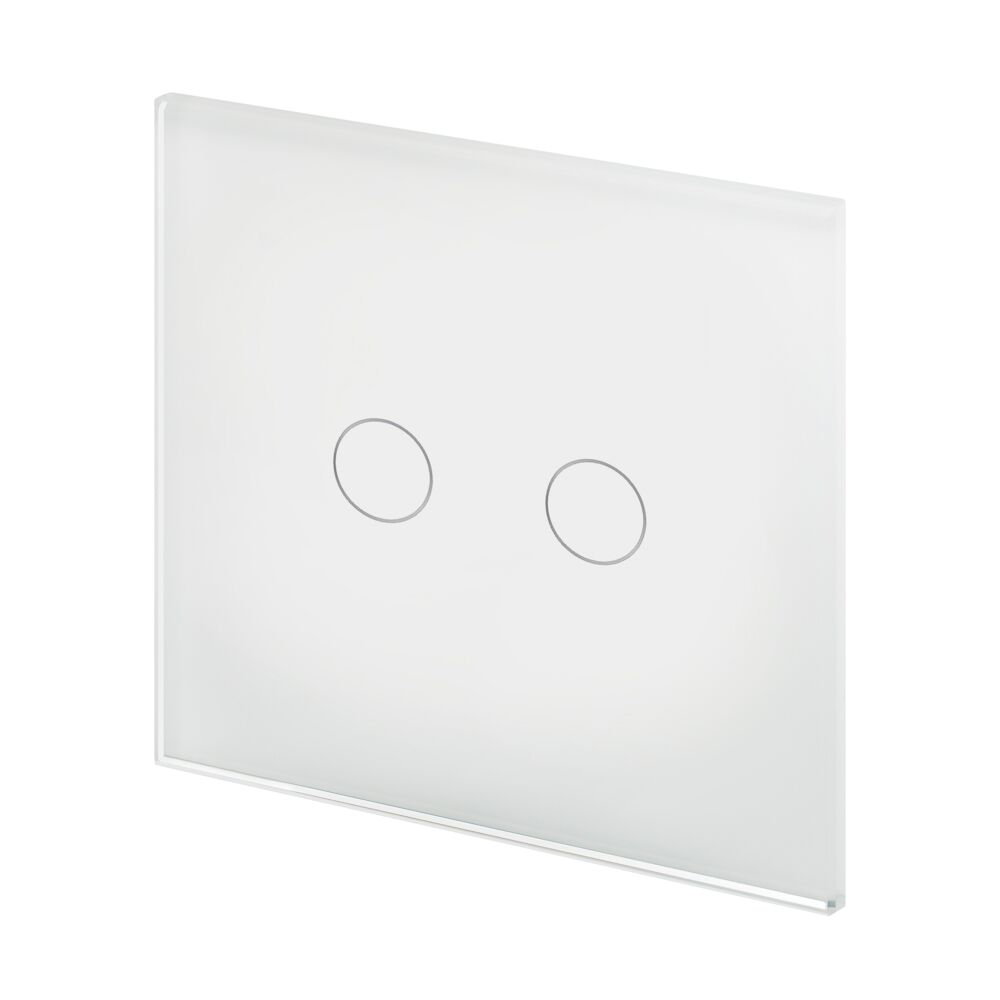 Crystal PG 2 Gang Touch Light Switch White