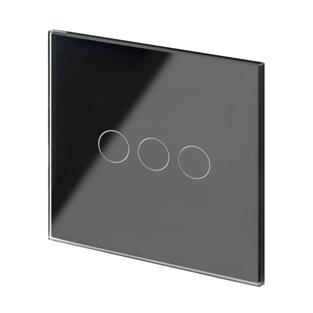 Crystal PG 3 Gang Touch Light Switch Black
