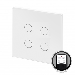 Crystal PG Touch & Remote Light Switch 4 Gang White