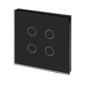Crystal PG Touch Light Switch 4 Gang Black