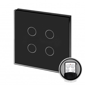 Crystal PG Touch & Remote Light Switch 4 Gang Black