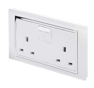 Crystal CT 13A DP Double Plug Socket with Switch White