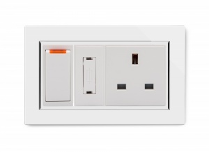Crystal CT Switched Fused Spur with 13A Unswitched Socket White