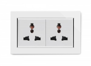 Crystal CT Double 13A Multifunction Plug Socket White