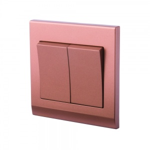 Simplicity 2 Gang Pulse/Retractive Switch Copper/Bronze