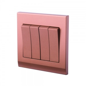 Simplicity Mechanical Light Switch 4 Gang Copper/Bronze
