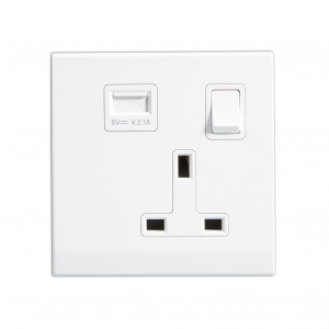 Simplicity 13A Single Plug Socket & USB with Switch White