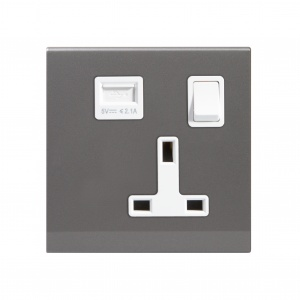 Simplicity 13A Single Plug Socket & USB with Switch Mid Grey