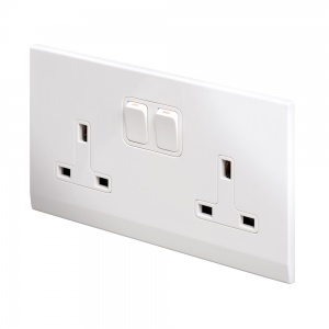 Simplicity 13A DP Double Plug Socket with Switch White