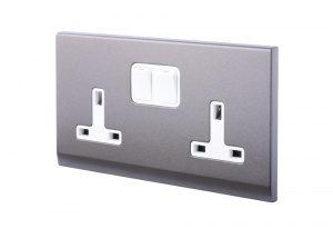 Simplicity 13A DP Double Plug Socket with Switch Charcoal