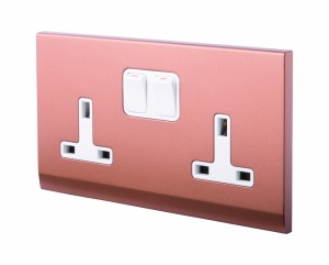 Simplicity 13A DP Double Plug Socket with Switch Copper / Bronze