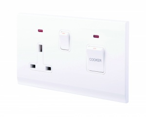 Simplicity 45A DP Cooker Switch + 13A Plug Socket W/ Neon White