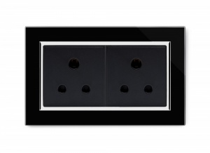 Crystal CT Double 15A Round Pin Socket Black