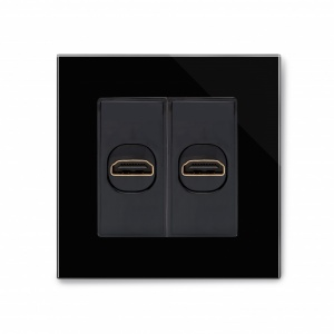 Crystal PG Dual HDMI Socket Black