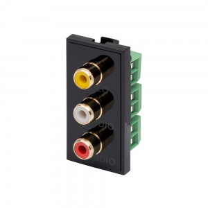 RT Triple RCA (25mm x 50mm) Black