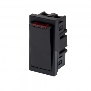 RT 20A DP Switch with Neon (25mm x 50mm) Black