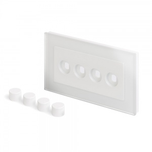Crystal PG 4 Gang LED Dimmer Plate White