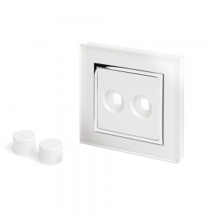Crystal CT 2 Gang LED Dimmer Plate White