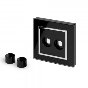 Crystal CT 2 Gang LED Dimmer Plate Black