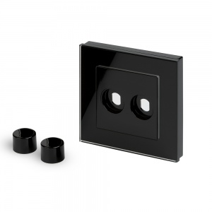 Crystal PG 2 Gang LED Dimmer Plate Black