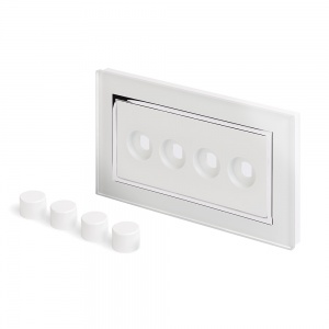 Crystal CT 4 Gang LED Dimmer Plate White