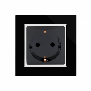 Crystal CT Single Schuko Plug Socket Black