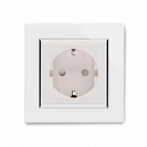 Crystal CT Single Schuko Plug Socket White