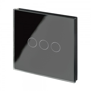 Crystal PG Wirefree Touch Light Switch 3 Gang Black