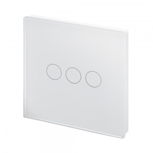 Crystal PG 12/24V 3 Gang Touch Retractive Light Switch White