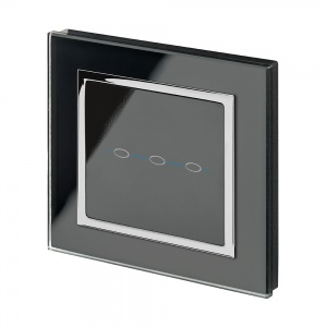Crystal CT 12/24V  3 Gang Touch Retractive Light Switch Black