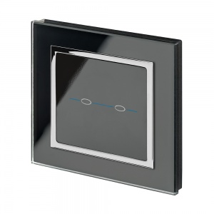 Crystal CT 12/24V  2 Gang Touch Retractive Light Switch Black